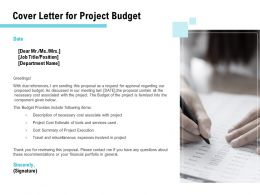 Cover Letter For Project Budget Ppt Powerpoint Presentation Professional Information