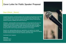 Cover Letter For Public Speaker Proposal Ppt Powerpoint Presentation Summary Images