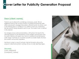 Cover Letter For Publicity Generation Proposal Ppt Powerpoint Presentation Infographics Show