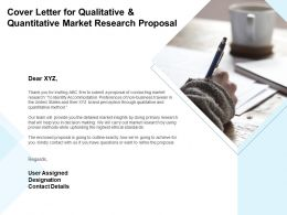 Cover Letter For Qualitative And Quantitative Market Research Proposal Ppt Powerpoint Presentation