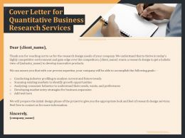 Cover Letter For Quantitative Business Research Services Ppt Model