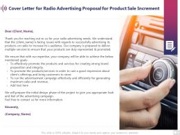 Cover Letter For Radio Advertising Proposal For Product Sale Increment Ppt Presentation Slide