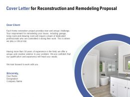 Cover Letter For Reconstruction And Remodeling Proposal Ppt Powerpoint Presentation Gallery Visuals