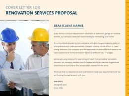 Cover Letter For Renovation Services Proposal Qualifications Ppt Presentation Slides