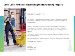Cover Letter For Residential Building Window Cleaning Proposal Ppt Themes Icons