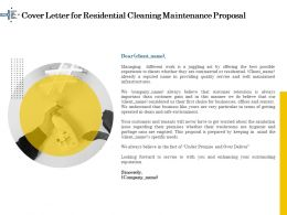 Cover Letter For Residential Cleaning Maintenance Proposal Ppt Inspiration
