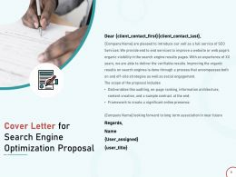 Cover Letter For Search Engine Optimization Proposal Ppt Powerpoint Presentation Good