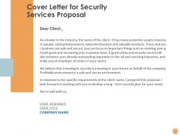 Cover Letter For Security Services Proposal Ppt Powerpoint Presentation Summary Sample