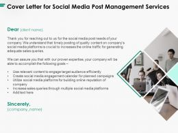 Cover Letter For Social Media Post Management Services Ppt Powerpoint Presentation Infographic