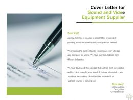 Cover Letter For Sound And Video Equipment Supplier C1164 Ppt Powerpoint Presentation