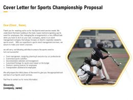 Cover Letter For Sports Championship Proposal Ppt Powerpoint Presentation Themes