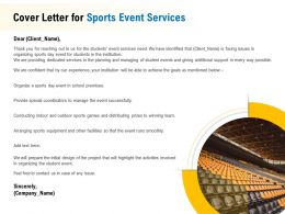 Cover Letter For Sports Event Services Ppt Powerpoint Presentation Icon