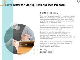 Cover Letter For Startup Business Idea Proposal Ppt Powerpoint Presentation Portfolio Files