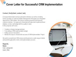 Cover Letter For Successful CRM Implementation Ppt Powerpoint Presentation File