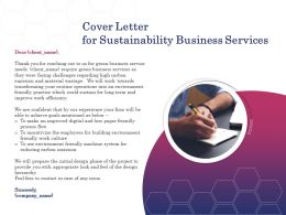 Cover Letter For Sustainability Business Services Ppt Powerpoint Presentation Portfolio