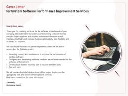 Cover Letter For System Software Performance Improvement Services Ppt Clipart