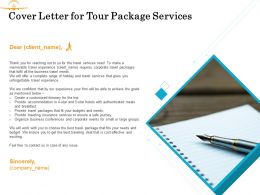 Cover Letter For Tour Package Services Ppt Powerpoint Presentation Gallery Outline