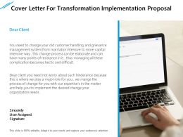 Cover Letter For Transformation Implementation Proposal Ppt File Formats