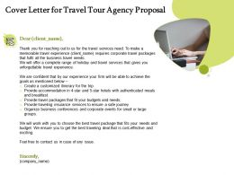 Cover Letter For Travel Tour Agency Proposal Ppt Powerpoint Presentation File Clipart Images