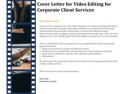 Cover Letter For Video Editing For Corporate Client Services Ppt Gallery