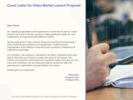 Cover Letter For Video Market Launch Proposal Ppt Powerpoint Pictures Topics