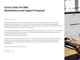 Cover Letter For Web Maintenance And Support Proposal Ppt Powerpoint Presentation Gallery Design