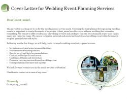 Cover Letter For Wedding Event Planning Services Ppt Model