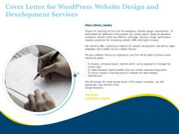 Cover Letter For Wordpress Website Design And Development Services Ppt Powerpoint Icons