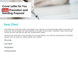 Cover Letter For You Tube Promotion And Handing Proposal Ppt Powerpoint Slides