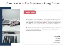 Cover Letter For Youtube Promotion And Strategy Proposal Ppt Powerpoint Slides