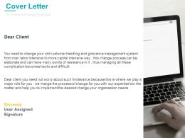 Cover Letter Management For Process Change Proposal Ppt Model