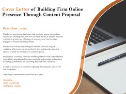 Cover Letter Of Building Firm Online Presence Through Content Proposal Ppt Ideas