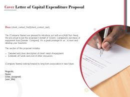 Cover Letter Of Capital Expenditure Proposal Ppt Powerpoint Presentation Show Display
