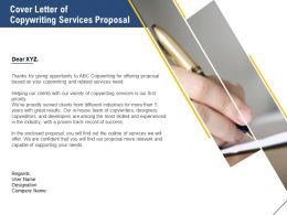 Cover Letter Of Copywriting Services Proposal Ppt Powerpoint Topics
