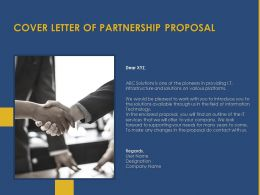 Cover Letter Of Partnership Proposal Ppt Powerpoint Presentation Show