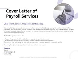 Cover Letter Of Payroll Services Ppt Powerpoint Presentation Themes