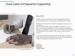 Cover Letter Of Proposal For Copywriting Ppt Powerpoint Presentation Model