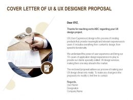 Cover Letter Of UI And UX Designer Proposal Ppt Powerpoint Presentation Show Gridlines