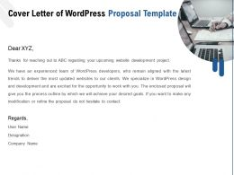 Cover Letter Of WordPress Proposal Template Ppt Powerpoint Presentation Model Samples