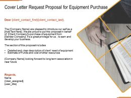 Cover Letter Request Proposal For Equipment Purchase Ppt Powerpoint Presentation Outline Show