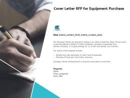 Cover Letter RFP For Equipment Purchase Ppt Powerpoint Presentation Pictures Shapes