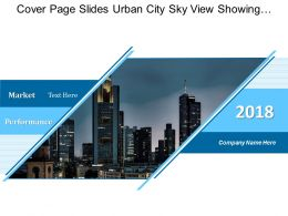 Cover Page Slides Urban City Sky View Showing Market Performance
