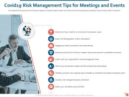 Covid19 Risk Management Tips For Meetings And Events Ppt Powerpoint Styles