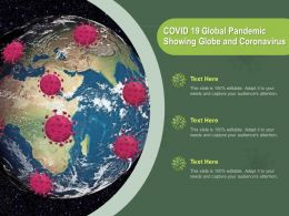 COVID 19 Global Pandemic Showing Globe And Coronavirus Ppt Powerpoint Presentation Model Diagrams