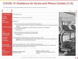 COVID 19 Guidance For Gyms And Fitness Centers That Staff Ppt Powerpoint Presentation Portfolio Model