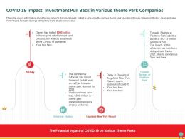 COVID 19 Impact Investment Pull Back In Various Theme Park Companies Delay Ppt Powerpoint Presentation Icon