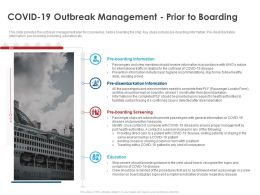 Covid 19 Outbreak Management Prior To Boarding Ppt Powerpoint Presentation Gallery