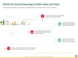 COVID 19 Social Distancing In Public Parks And Trails Water Ppt Powerpoint Presentation Rules