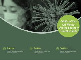 COVID 19 Virus With Women Wearing Repertory Protection Mask Ppt Powerpoint Presentation Portfolio Skills