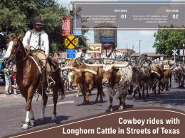 Cowboy Rides With Longhorn Cattle In Streets Of Texas